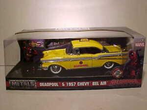 1:24 Deadpool w// 1957 Chevrolet Bel Air Yellow Taxi Hollywood Rides JADA