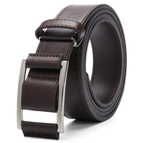 Hommes en Cuir Synthétique Ceinture Sans Trous Fashion Bracelet Homme Jeans Accessoires Noir