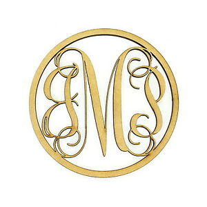 Unfinished Wooden Three Letter Vine Monogram With a Circle Frame
