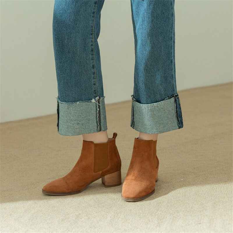 Fall Winter New Retro Women Chelsea Ankle Boots Chunky Heel Suede Booties Size 8