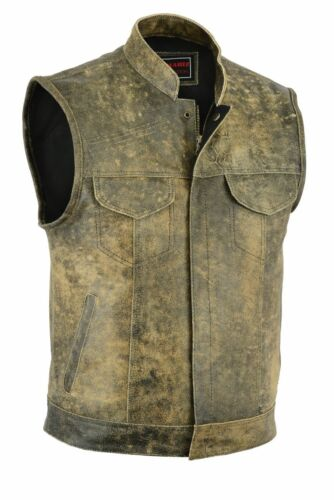 MEN DISTRESSED REAL LEATHER SON OF ANARCHY MOTORCYCLE WAISTCOAT BROWN VEST