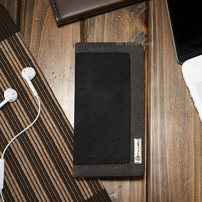 Sony Xperia X Cover Case Schutzhülle Tasche Neu Leder Synthetisch Jeans Schwarz