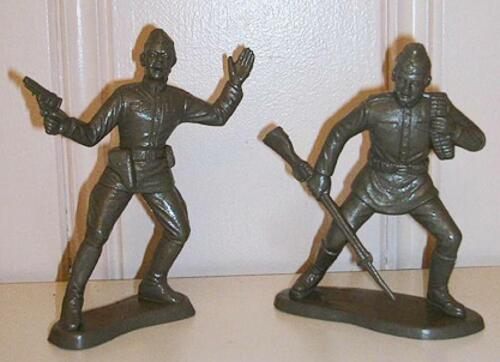 """/"""" 6in Plastic Toy Soldiers Marx Toys PL-1294 /""""Russian WWII Soldiers Dark Olive"""