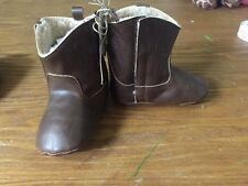 Mud Pie Cute Baby Boy Fancy Dress-up Shoes Brown Leather Boots Size 6-12M