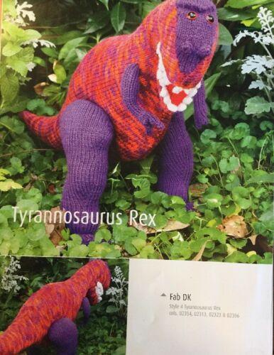 "DK  Knitting Pattern Soft Toy Animal Dinosaur Tyrannosaurus 16/"" In Height"