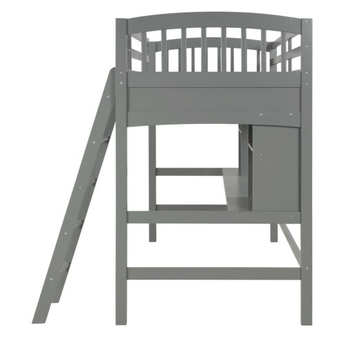 Solid Wood Bed Frame with Storage Shelves Twin Size Loft Bed Ladders and Desk