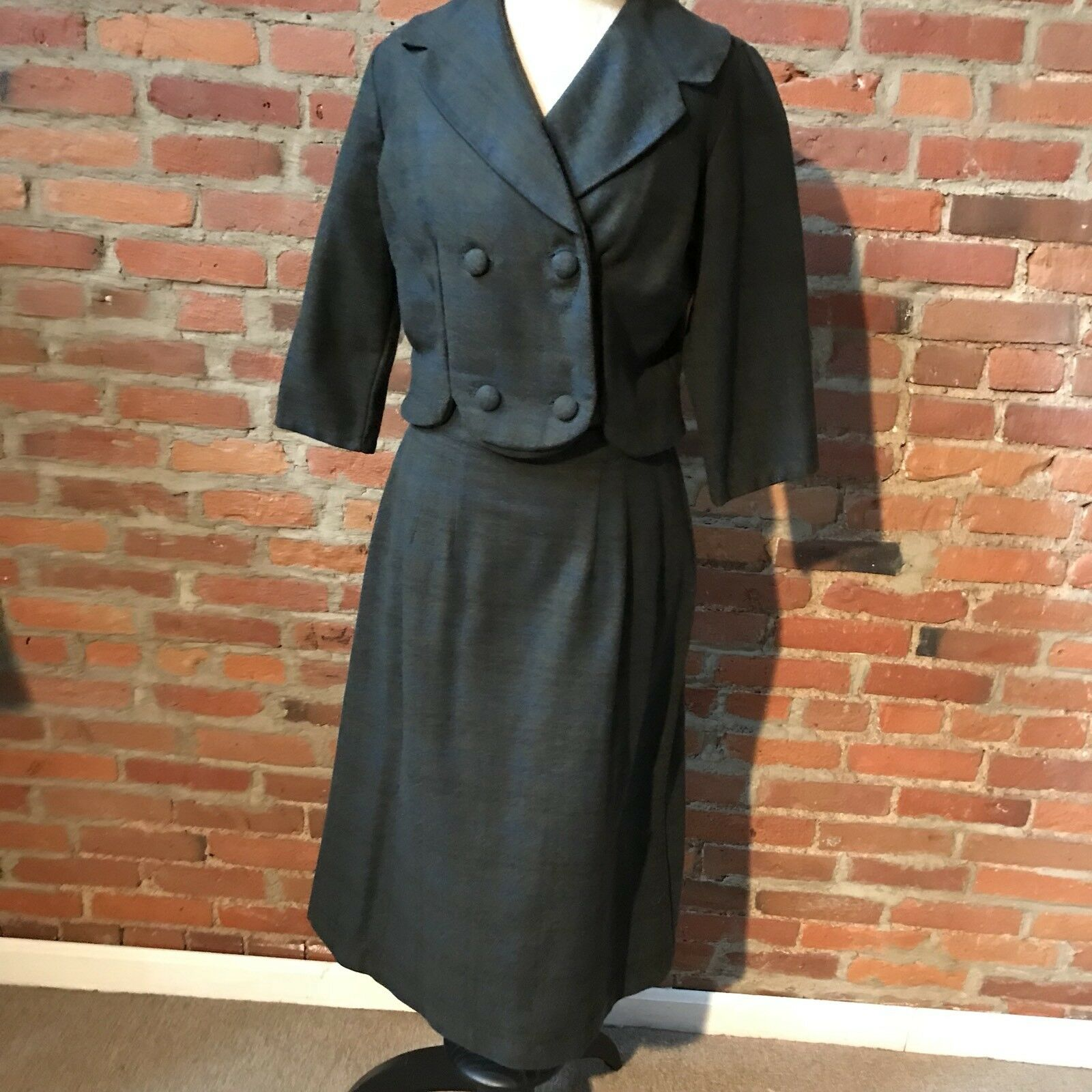 Vintage 50's Wool Plaid Skirt Suit  Double Breasted Scallop Charcoal grau 8