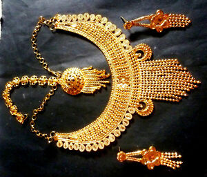 22K-Gold-Plated-Indian-Step-Chain-Necklace-Tikka-Earrings-Wedding-Set