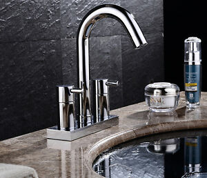 4 Inch Center Bathroom Sink Faucet Dual Knobs Basin Mixer Tap Chrome Finish