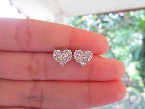 2.75 Carat Face Illusion Diamond White Gold Heart Earrings 18k sepvergara