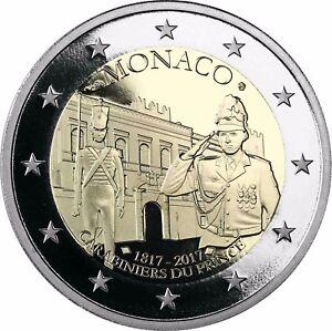 Monaco-2-Euro-200-Jahre-Fuerstliche-Karabinierskompanie-2017-Polierte-Platte