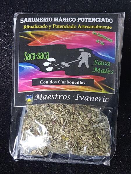 """saca Saca"" Sahumerio Ritualizado 30gr + 2 Carboncillos / Take Out Evils Incense Color Rapido"
