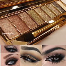 9 Colors Glitter Eyeshadow Eye Shadow Palette & Makeup Cosmetic Brush Set NEW