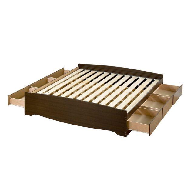 King Size 6 Drawers Platform Bed Espresso Wood Frame Bedroom Furniture Storage