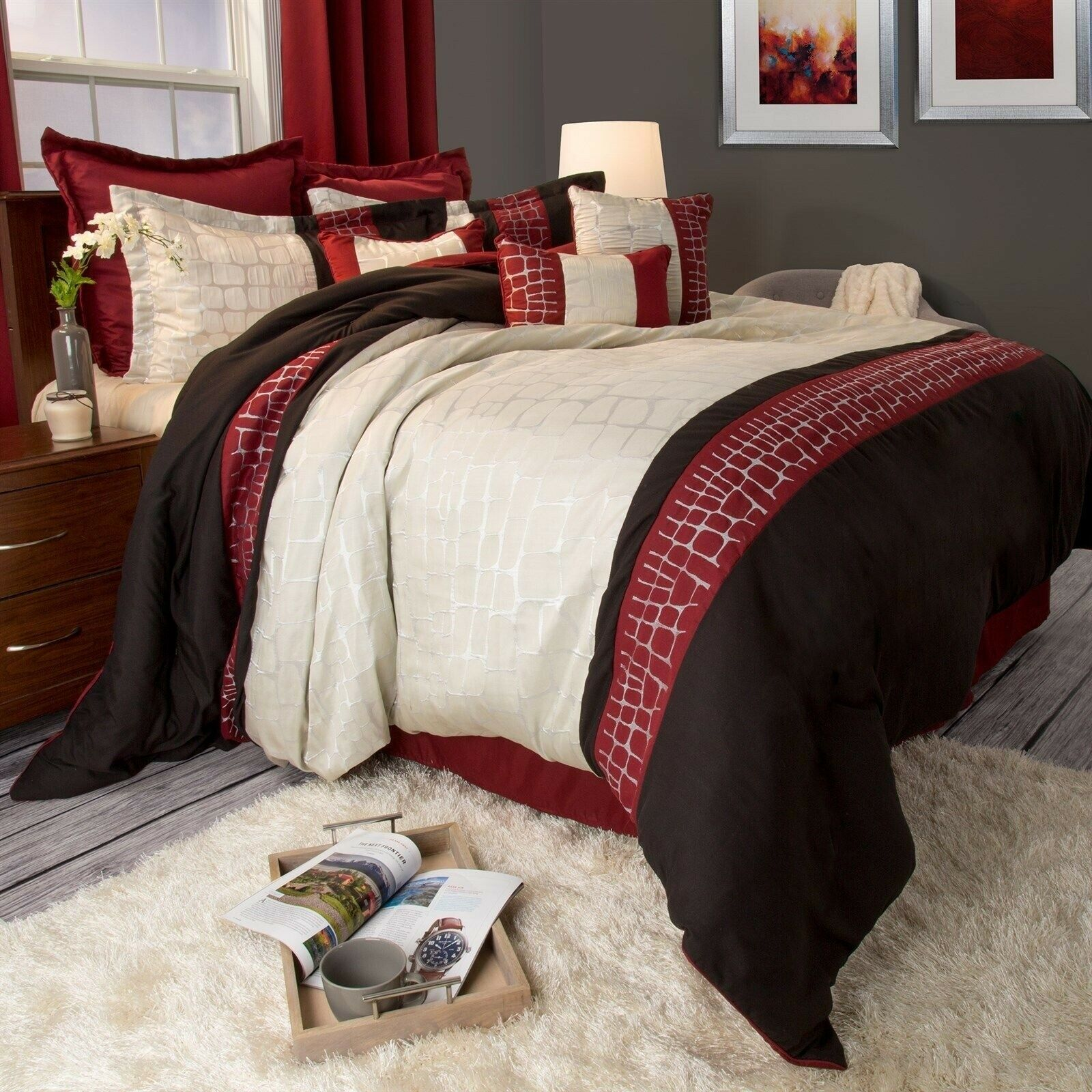 10 Piece Mosaic Stone Like Burgundy Gold Cream Comforter Set King Size