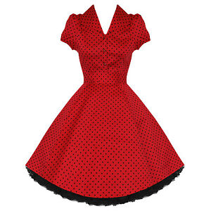 Ladies-New-Red-Polka-Dot-Vtg-50s-Retro-Pinup-Rockabilly-Party-Prom-Swing-Dress-U