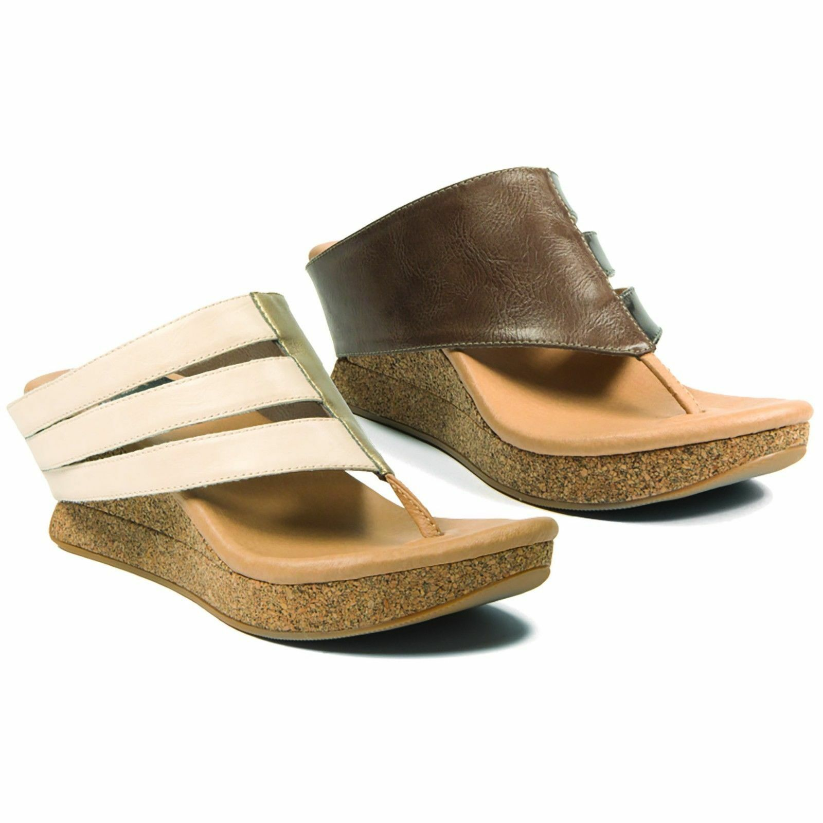 New MODZORI Sabra Low Wedge Reversible Sandals Sandals Sandals in Cream Au Ag Taupe in Taille 12 4c382a