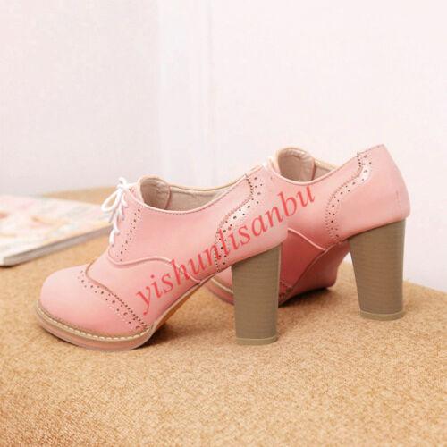 Rétro Femmes Chaussures à lacets et talon bottier haut court Bout D/'Aile Escarpins Chaussures talons hauts