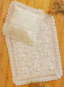 Lace Leaf Squares Baby Blanket & Pillowcase ~ Leaf Edging ...