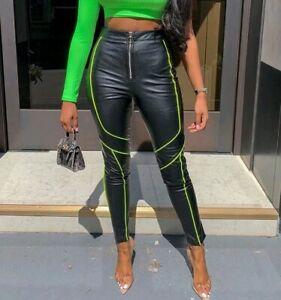 Damen-Hose-Kunstlederhose-High-Waist-Roehrenhose-Lederlook-Neon-S-M-L-XL