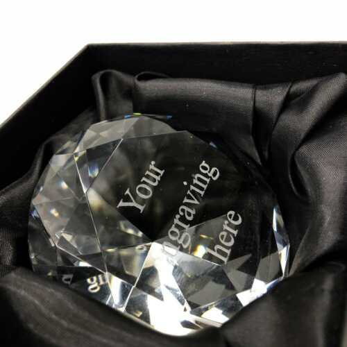 Personalised 8cm Diamond Shape Paper Weight Custom Engraved Any Message X70108