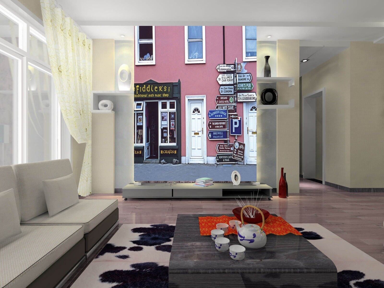 3D Street Sign House 46 Wall Paper Wall Print Decal Wall Deco Indoor Mural Carly