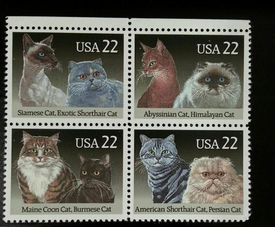 1988 22c Cats, Block of 4 Scott 2372-75 Mint F/VF NH