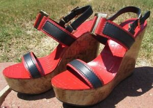 Tory-Burch-Wedge-high-heels-Size-9-5-10-shoes-RED-blue-gold-LEATHER-Spring-New