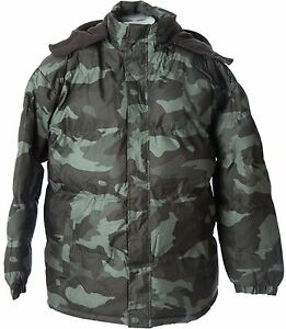 Polar Ice Men&amp039s CAMO Bubble Puffer Jacket WARM Hooded Winter