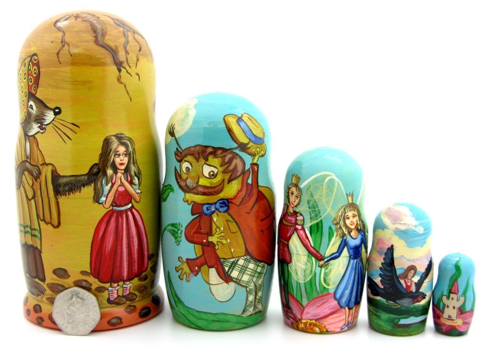 Russian nesting 5 dolls Matryoshka Thumbelina Mole Mouse  Andersen Fairy tale