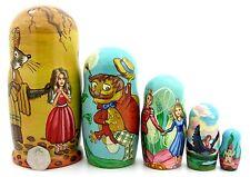 Ruso Anidamiento 5 Muñecas Pulgarcita Mole Ratón Abejorro Andersen Cuento de Hadas Arte