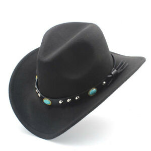 591982fde21 Image is loading Unisex-Autumn-Winter-Retro-Western-Equestrian-Cowboy-Hat-