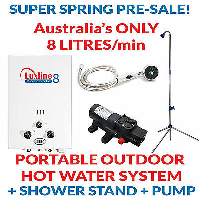 Portable instant LPG gas heater shower hot water outdoor caravan 4WD camping