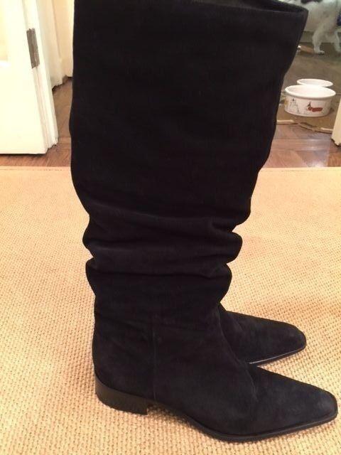 Women's High Black Suede Boots Medium Width - Size 7