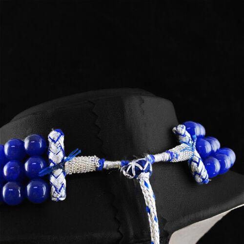 collier 943.75 cts Earth mined ligne 3 fait à la main riche SAPHIR BLEU perles rondes