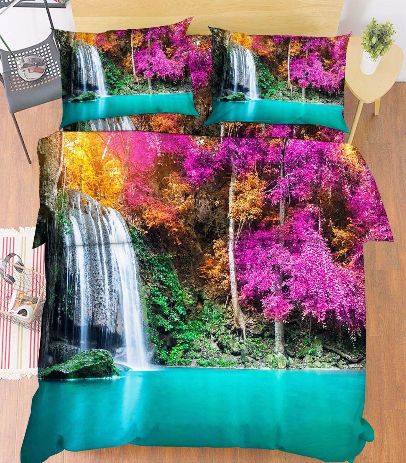 3D Bule Pool Tree 896 Bed Pillowcases Quilt Duvet Cover Set Single Queen UK Kyra