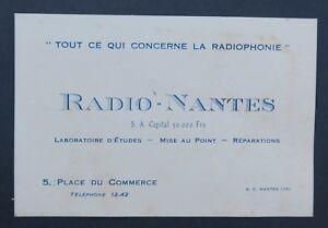 Carte De Visite RADIO NANTES Radiophonie Place Du Commerce Old Visit Card