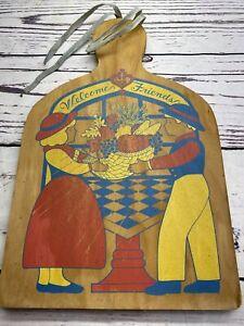 Vintage FOLK ART Primitive PAINTING of Man Women Cornucopia Wood Cutting BOARD