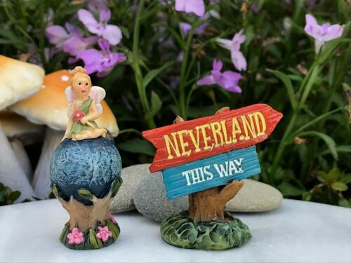 Miniature Dollhouse FAIRY GARDEN Figurine ~ NEVERLAND Mini Tinkerbell /& Sign