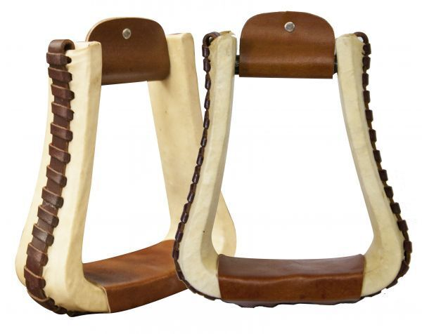 Showman Rawhide Covered Pleasure Style Western Stirrups w  Leather Lacing