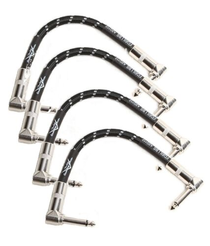 "4 New Fender Custom Shop Black Tweed 6/"" inch Patch Cables Right Angle FG6ILLB6"