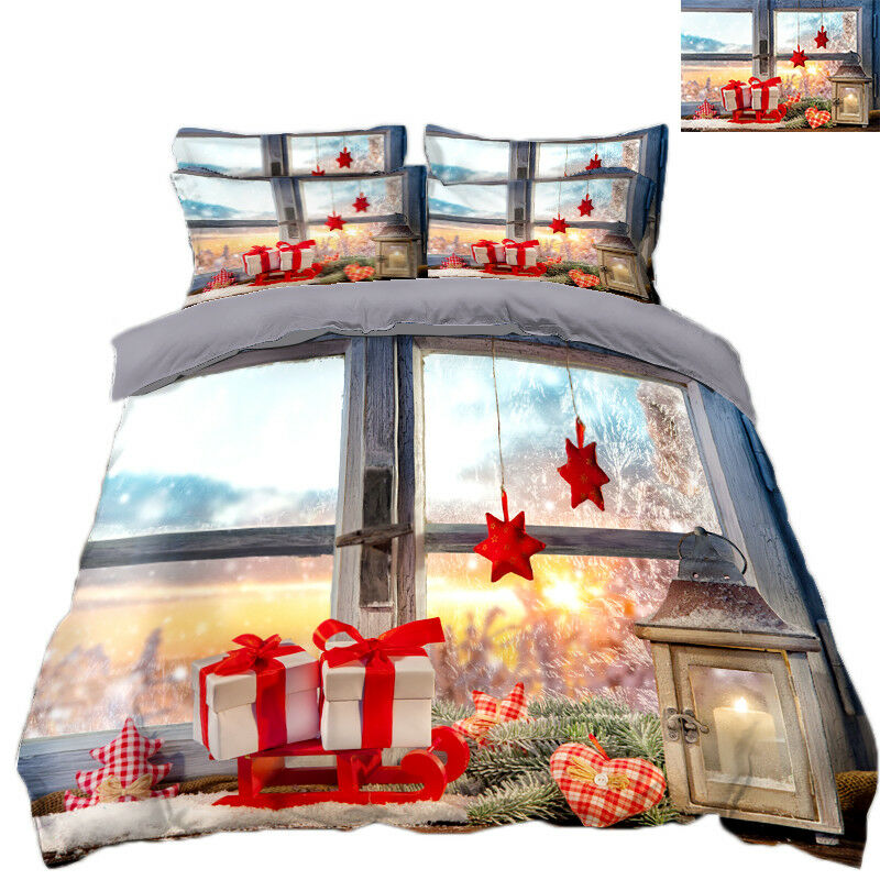 3D Christmas Xmas Church 8 Bed Pillowcases Quilt Duvet Cover Set Single Queen UK
