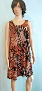 Jostar-Wrinkle-Free-Tank-Dress-Brown-amp-BLACK-Abstract-Travel-Wear-No-Iron-S-3X
