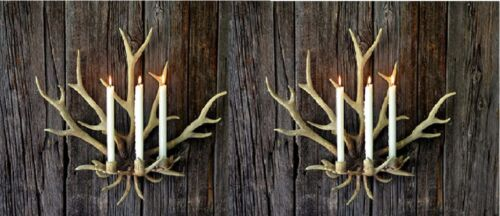 """NEW LARGE 22/""""H ANTLER RUSTIC LODGE GOLD HORN 3 Candle Holder Wall Sconce SET// 2"""