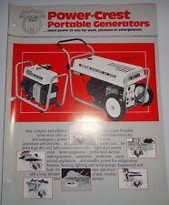 Power Crest Portable Generators Sales Brochure Literature Original Yard Man