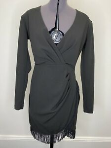 Nookie-Black-Dress-With-Tassels-Size-M-EUC-Formal-Gown-Races-Cocktail-Party