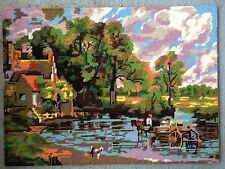 vintage tapestry, completed English needlepoint, retro decor for the modern home