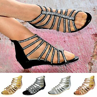 Ladies Gladiator Sandals Low Wedge Heel Prom Bridesmaid Diamante Flat Shoes Size