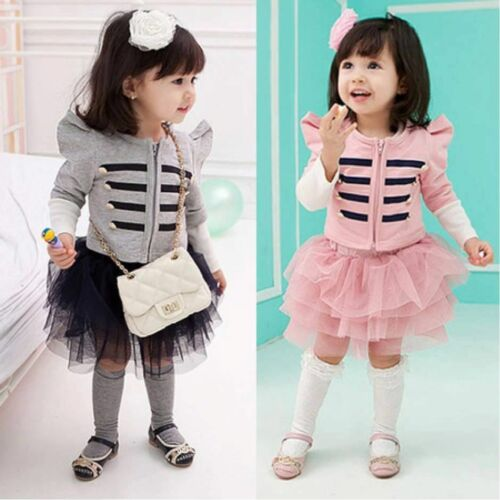 Baby Girl/'s Party Long Sleeve Short Coat+Tutu Skirt Suit Set Outfit