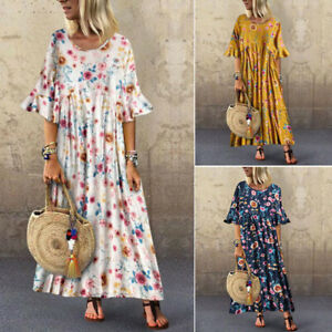 Vintage-Femme-Floral-Manche-evasee-Loose-Cocktail-Party-Club-Dress-Robe-Plus